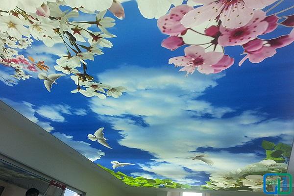 Çiçekli gergi tavan uygulama Görseli