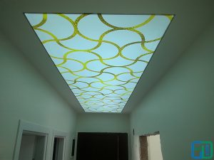 Altın Desenli Koridor Gergi Tavan Modelleri