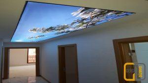gökyüzü çiçek görselli koridor gergi tavan