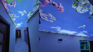 çiçekli koridor gergi tavan